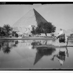Egypt. Pyramids of Gizeh. The Great Pyramid. Reflecting pyramid & mounted camelman SOURCE Library of Congress Public Domain