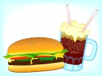 Picture of a classic hamburger and a soda against a pale blue background. Original clip art image produced by Jim Sutton. SOURCE jimsgraphix.com