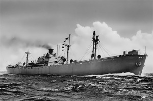A typical World War II Liberty ship. Library of Congress photo.