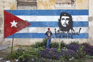 Mural Showing Cuba flag and Che Guevare SOURCE Public Domain Images Online