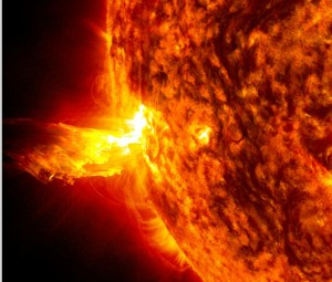 the bright light of a solar flare on the left side of the sun CREDIT NASA SDO SOURCE NASA  Public Domain