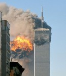 WTB North_face_south_tower_after_plane_strike_9-11 CREDIT Robert SOURCE Wikipedia Commons public Domain