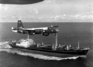 Cuba-P-2H_Neptune_over_Soviet_ship_Oct_1962 CREDIT US Navy SOURCE Wikipedia Commons public Domain